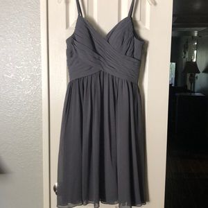 Grey mid length bridesmaid dress